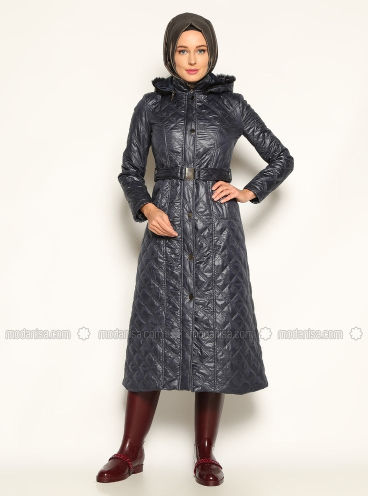Quilted Coat - Navy Blue - Vivezza