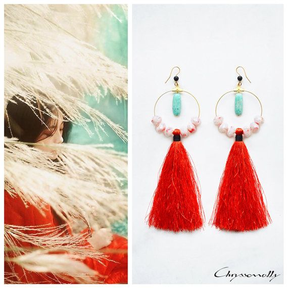 CGC030 - Chryssomally Asian inspired modern ethnic gold earrings with teal amazonite and black lava stones, white and red crystals and red tassels