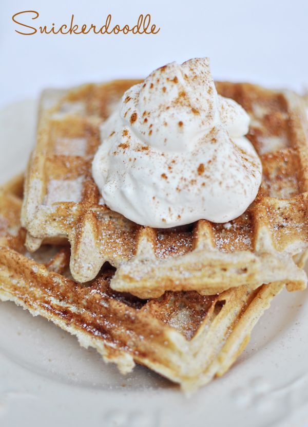 Snickerdoodle cookie waffle - the kids can help make the mix and pour onto the waffle iron and even help dollop on the whipped cream and toppings. Would be awesome for a Father's Day breakfast in bed!  (30 family-points.com - family unity, education, service)