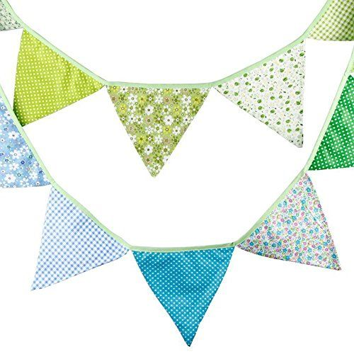 G2Plus Lovely Bunting 10 Feet Flag Banner Pennant Flag Garlands Fabric Triangle Flags Double Sided Vintage Cloth Shabby Chic Decoration for Birthday Parties Ceremonies Kitchen Bedrooms (Green and Blue) G2Plus http://www.amazon.co.uk/dp/B016WF23UG/ref=cm_sw_r_pi_dp_h012wb1YHP5KY