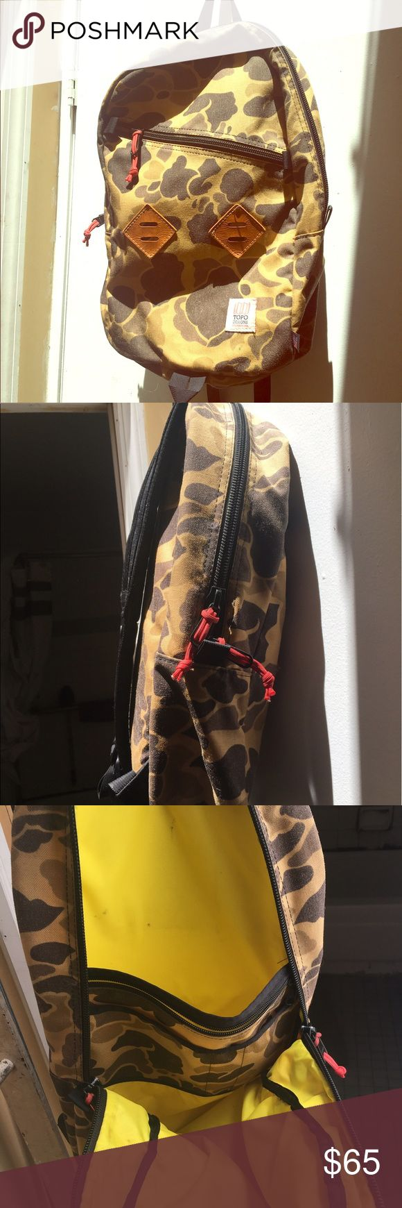 Topo Designs Backpack Cheetah print with red accents. Laptop holder inside. Topo Designs is a quality hiking backpack company located in Colorado. It was originally purchased for $110. Bags Backpacks