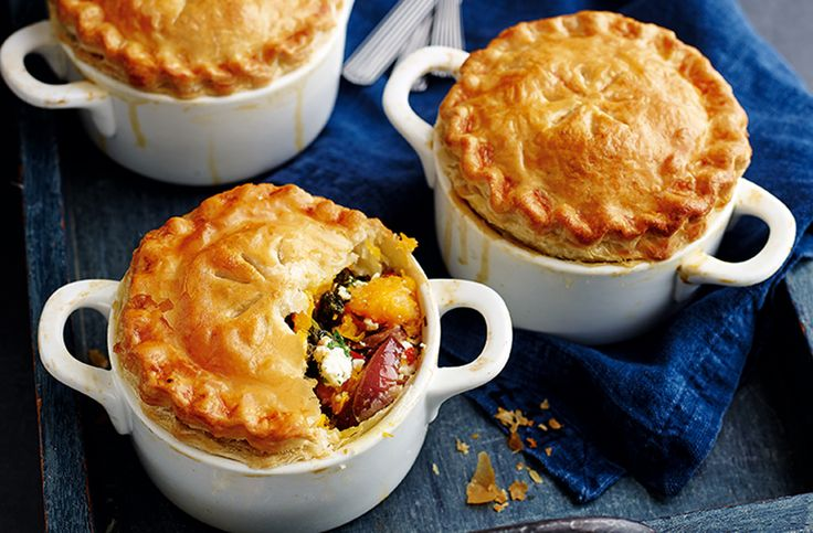 Delicious butternut squash mini pot pies - the perfect comfort food for crisp autumn days. Find lots more pie recipes & easy recipes at Tesco Real Food.