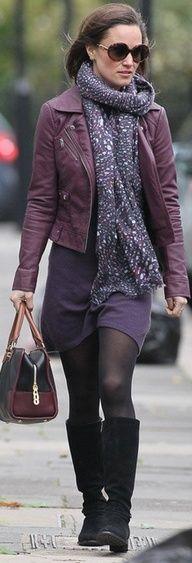 purple dress + purple jacket + scarf + black boots