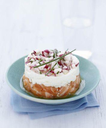 Tartare de saumon et radis croquant au Carré Frais