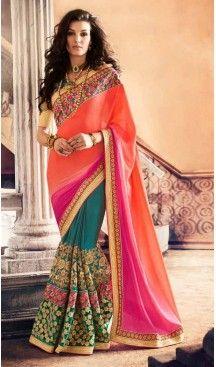 Greenish Blue Color Georgette Designer Wear Style Saris Blouse | Follow @heenastyle << #designersarees, #partywearsareesonline, #sareeonline, #latestcollection, #bridalsaree, #cottonsaree, #bollywoodsarees, #onlineladiessarees, #sarees, #sari, #saris, #saree, #designersaris, #festivalssaris, #shoppingsareesonline, #onlineindiandesignerbollywoodsarees, #fashionsaris, #weddingsarees, #newstylistIndiansarees, #silksaree, #heenastyle, #heenastylesari #hennasari, #readytowaersaree, #lehengasaree