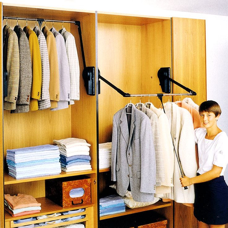 Outwater's Wardrobe Lift System comprises a hydraulically operated pull down telescoping clothing rod that enables you to maximize your closet's storage capacity by providing access to your clothing as required without the use of a chair, ladder or stool.  Readily adaptable to accommodate different closet heights and widths, Outwater's Wardrobe Lift System lets you utilize your closet to its fullest potential.