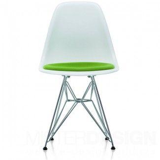 Eames Plastic Side Chair DSR Stoel Met Zitkussen En Verchroomd Onderstel    Vitra Glijders: Basic