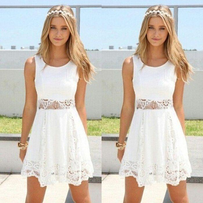 Qissy® Damen Sommerkleid Strandkleid Rundhals Ausschnitt ärmellos Chiffon Spitze Stitching eng Taille Rock Frauen Partykleid (S, Weiß)