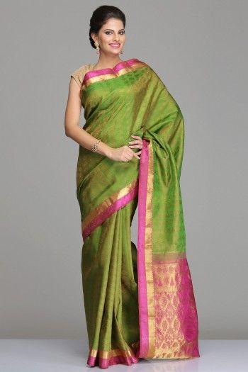 Green Kanjivaram Silk Saree With All-Over Self-Lotus Motifs And A Purple Border & Pallu With Half-Fine Gold Zari