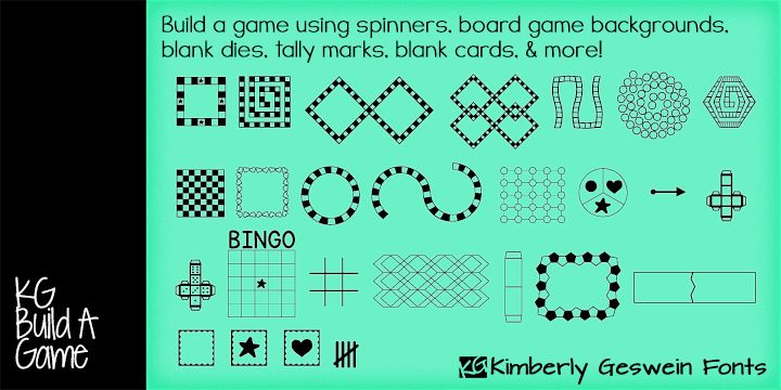 KG Build A Game FREE font for cutting  OR creating your own board game