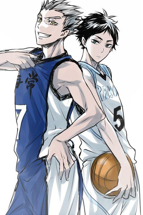 Haikyuu!! (ハイキュー) & Kuroko's Basketball (黒子のバスケ) crossover - Koutarou Bokuto at Kaijou and Keiji Akaashi at Rakuzan -「【腐向け】ハイキューログ4」/「真弓るか」の漫画 [pixiv]