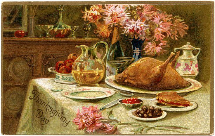 thanksgiving artwork Vintage Thanksgiving Turkey Dinner