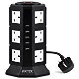 Extension Lead, PRITEK 12 Way Outlets Vertical Tower Power Strip with 5 Smart USB Charging Ports 10A/2500W 1000 Joules Surge Protector Extension Socket with 2m/6.5ft Extension Cord (Black + White)