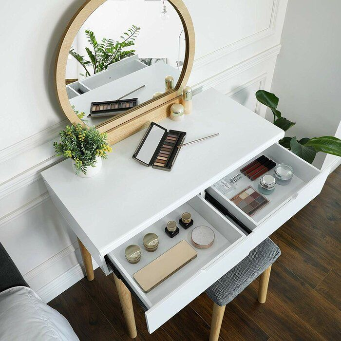 Arinze Vanity Set With Stool And Mirror In 2020 Vanity Set With Mirror Vanity Set Vanity Table Set