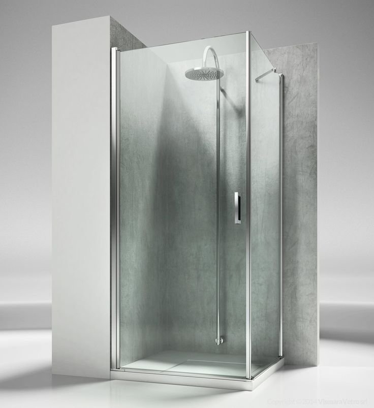 Shower enclosure for corner shower trays made by a pivot door and fixed panel. The standard height of the complete programme is 195 cm, so to propose Linea as natural complement of the new generation of shower trays, partially or totally built in. Shower enclosures Linea by @vismaravetro | LA+LF