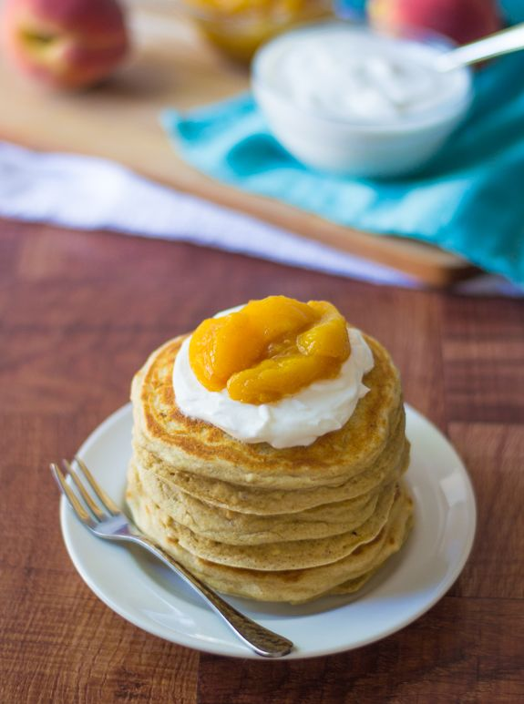 Peaches and Cream Pancakes | The Law Student's Wife: Peaches Compote, Whole Grains Pancakes, Honey Peaches, Breakfast Food Recipes, Pancakes Tops, Pancakes Recipes, Cream Pancakes You, Peaches And Cream, Breakfast Recipes
