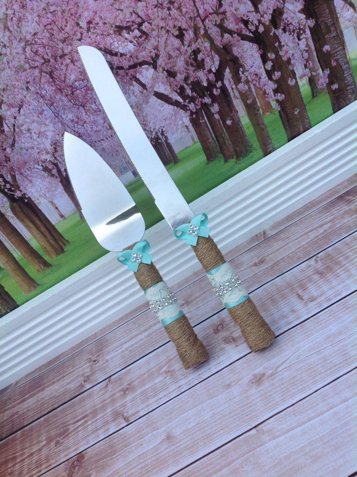 Wedding cake knife set / burlap knife set / cake cutting set / rustic wedding / vintage lace wedding by FallenStarCoutureInc on Etsy https://www.etsy.com/listing/152580967/wedding-cake-knife-set-burlap-knife-set
