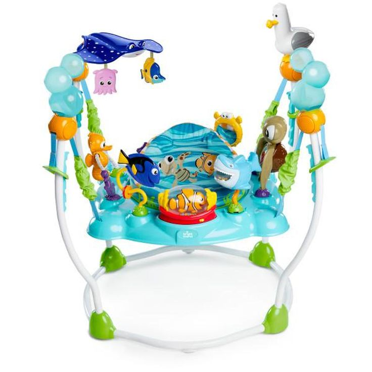 The Disney Baby Finding Nemo Sea of Activities Jumper includes 13+ engaging toys & activities for your little adventurer! The Nemo rollerball inspires baby's senses with lights, melodies, rattling beads and all your favorite Nemo characters. Bruce the friendly shark is a ratchet toy with a mouthful of colorful beads. Squirt's interactive tummy has keys that light up and play ocean-themed tunes.