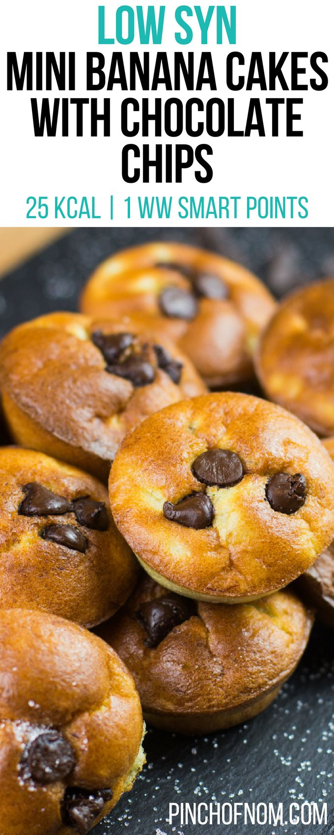 Low Syn Mini Banana Cakes with Chocolate Chips | Pinch Of Nom Slimming World Recipes     25 kcal | 2 Syns | 1 Weight Watchers Smart Points
