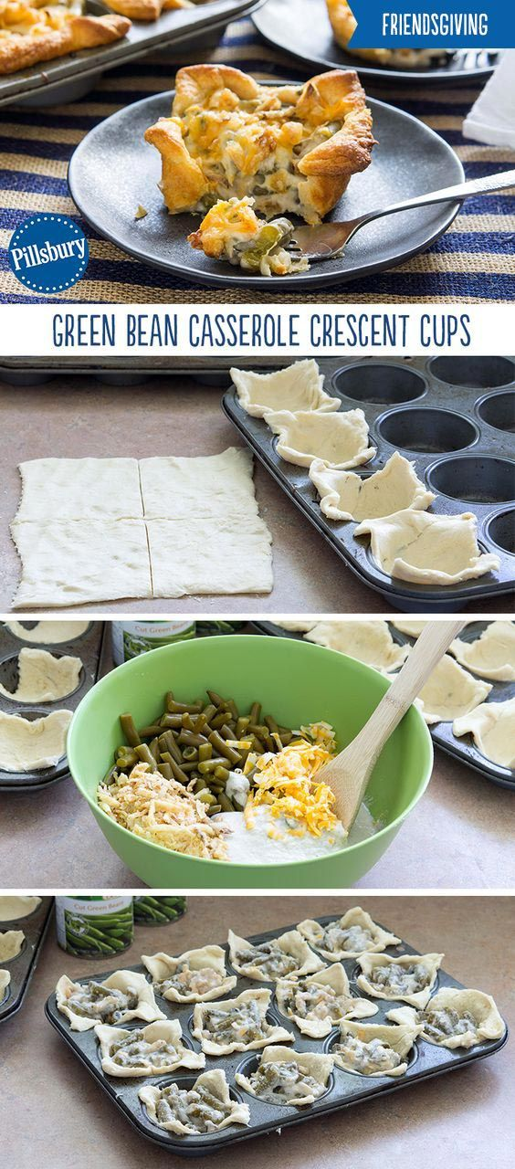 A Friendsgiving must have! This personal-size twist on a green bean casserole is a perfect way to serve everyone's favorite side. Green Bean Casserole Crescent Cups are super easy to make and make the perfect appetizer and snack for sharing. They also make a great Thanksgiving lunch for school or the office.