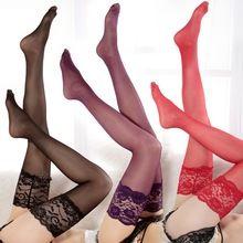 Moda de Encaje Sexy Womens Lace Top Stay Up Sobre la rodilla Del Muslo Medias Altas Discotecas Accesorios(China)