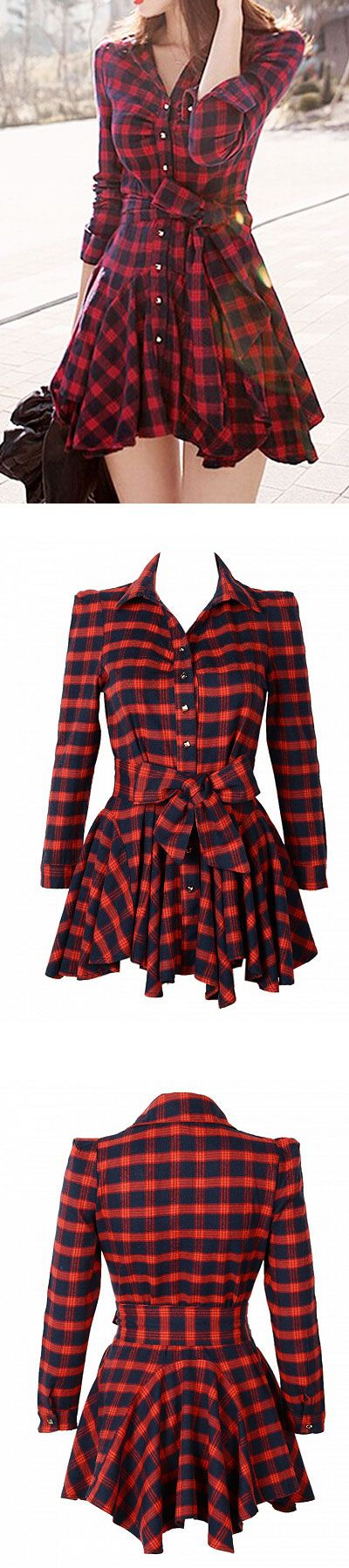 red plaid girlish shirt dress - for teens and young girls - one piece - so easy to get prepared to go out.   Oh, i am so lazy!