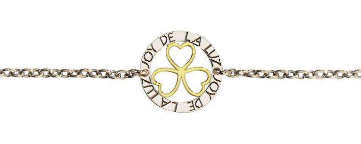 Joy de la Luz | Silver bracelet 3hearts gold  €34,95