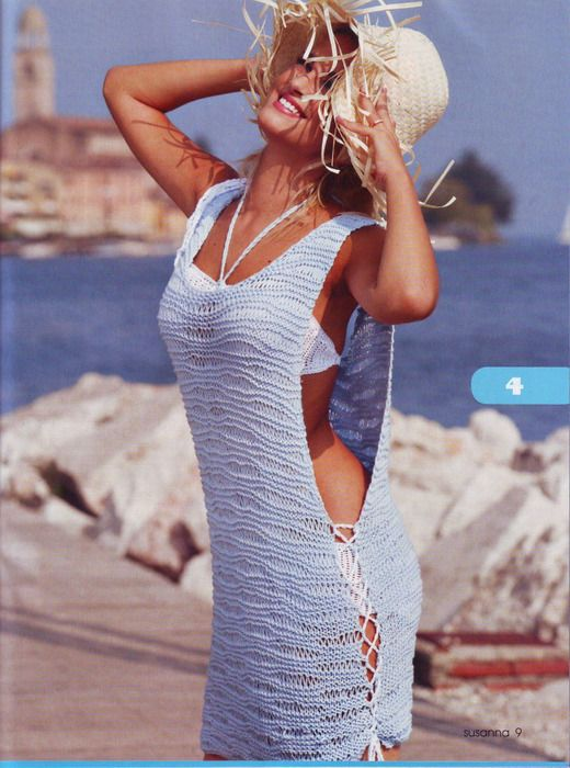 Beach Coverup free crochet graph pattern - Raise the sides and you get a tank top tunic with side slits.