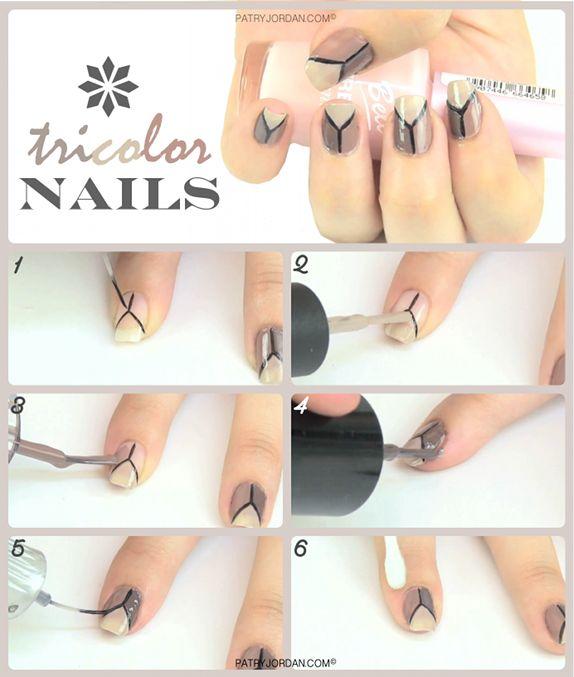DIY: Diseño de uñas tricolor. Hazlo tu misma, es muy fácil y rápido. Lleva unas uñas diferentes con este pintado.