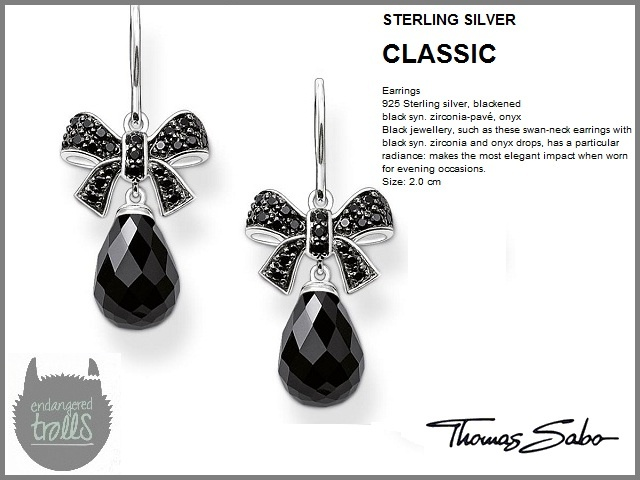 Thomas Sabo - Fall 2012 - Classic Collection - Pavé Bow Drop Earrings (Black)