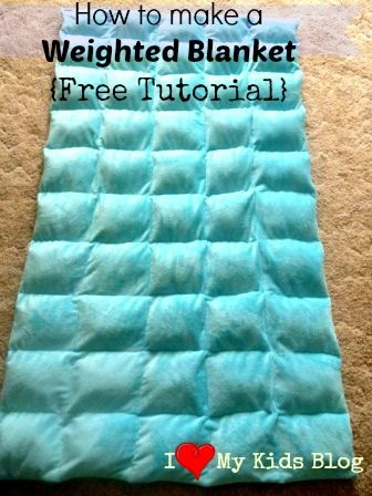 DIY Free Tutorial on how to make a weighted blanket, they have been shown to help calm/relax children that have Autism. AWESOME! Easy and inexpensive to make!