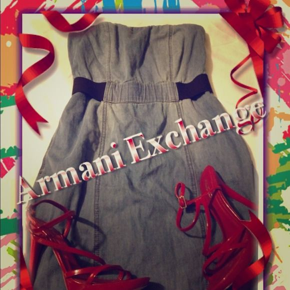 "🎉REDUCED🎈 A|X Strapless Dress NWOT, never worn, too small for me!!! This is a beautiful and rare strapless dress by Armani Exchange. It has a light wash denim look to it, and it's 98% cotton! Has a built in belt and ""bra"" to keep everything right where it belongs, very comfortable, light and soft. ❤ Heels are Aldo, size 7, also for sale, see listing ❤ 🔴 Price reduced from $60 to $55 9/15 🔴 Reduced to $50 10/1 🔴 Reduced to $40 10/9 🎈Reduced to $30 3/19 🔴 Reduced to $20 4/14 🎈Reduced…"
