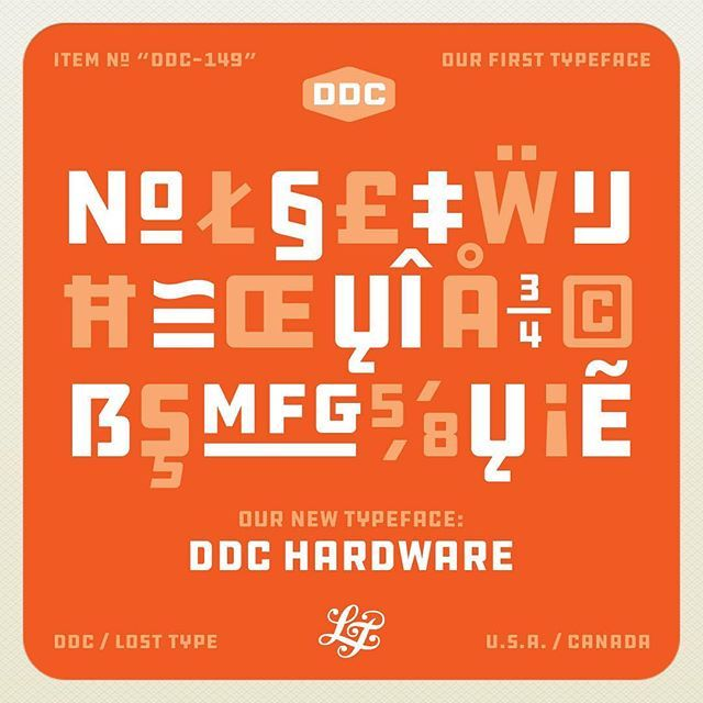 "WEBSTA @ draplin - DIACRITICS, ORDINALS AND SPECIAL CHARACTERS: DDC Hardware comes LOADED with extras. #fullyloaded A typeface revived, designed and produced by the Draplin Design Co. and @losttypecoop. Comes in three weights. Full range of diacritics that works for over 100 languages. Versatile range of ordinals. Historical alternates. Split fractions and diagonal fractions. Available for download now at: ""losttype.com"" and be sure to check out the DDC HARDWARE mini site at…"
