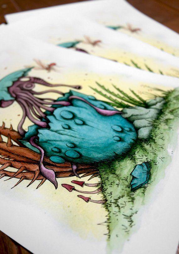 Edition Limitee Tirage D Art Impression Aquarelle Et Feutre