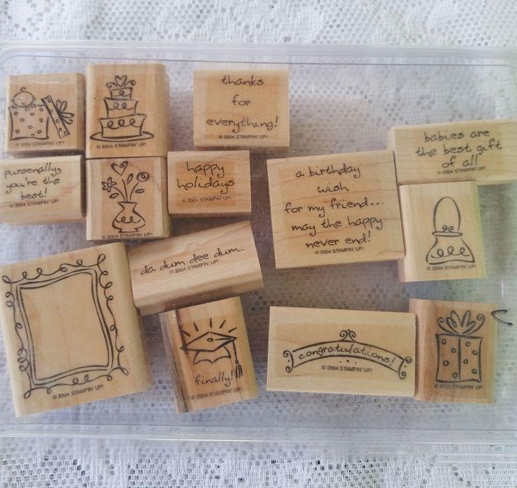 rubber stamps  14 rubber stampers  wood rubber stamp set