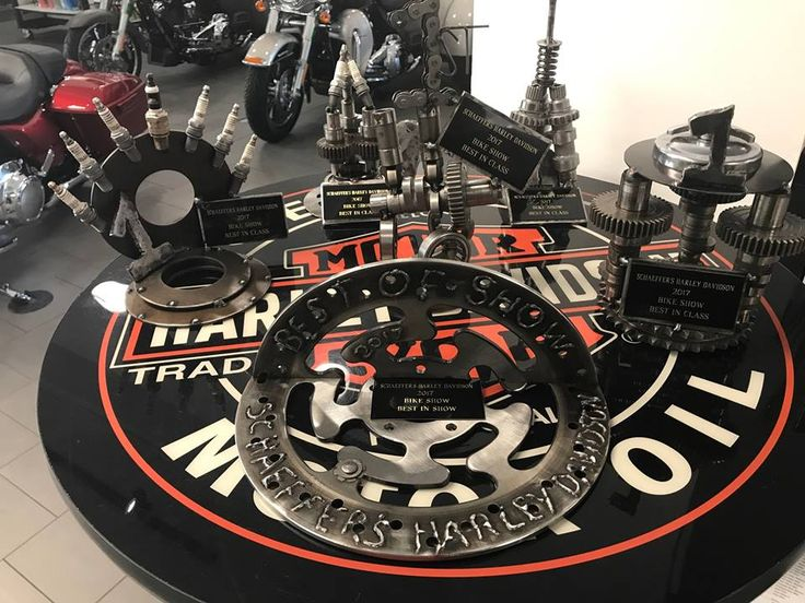 I also build custom weld art and scrap metal art trophies. These are custom made from used Harley Davidson Motorcycle parts. They are a real hit to draw people to enter car or bike shows. I can build anything to suit any event!