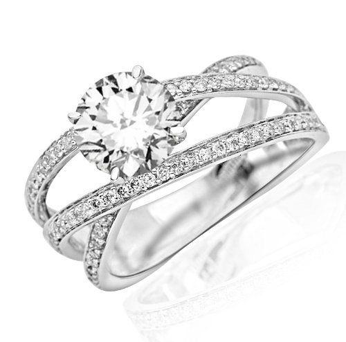1.24 Carat Round Cut Twisting Split Shank Criss Cross Contemporary Diamond Engagement Ring (D-E Color, VS2-SI1 Clarity)