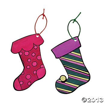 Color Your Own Christmas Stocking Ornaments - Oriental Trading