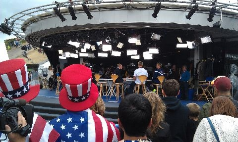 Here's a pic of @swimmacc's @Nick_Thoman during his live interview on the NBC Today Show in Olympic Park.