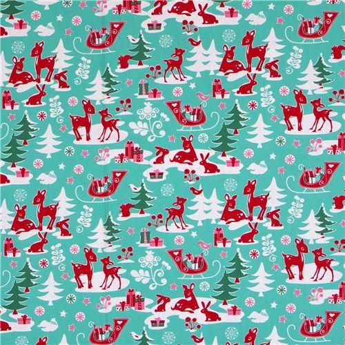 Michael Miller fabric aqua Yule Critters deer Christmas 2