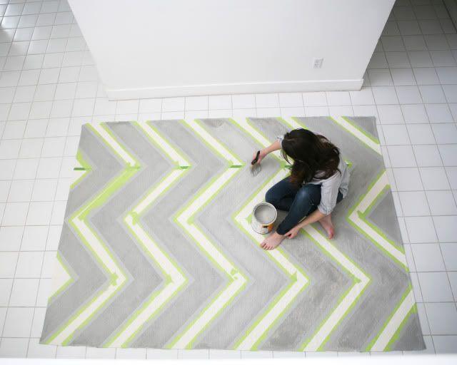 DIY Chevron Rug. $40 Ikea Rug, taped off and painted with grey latex paint. Thanks to Jessica - I am so doing this!