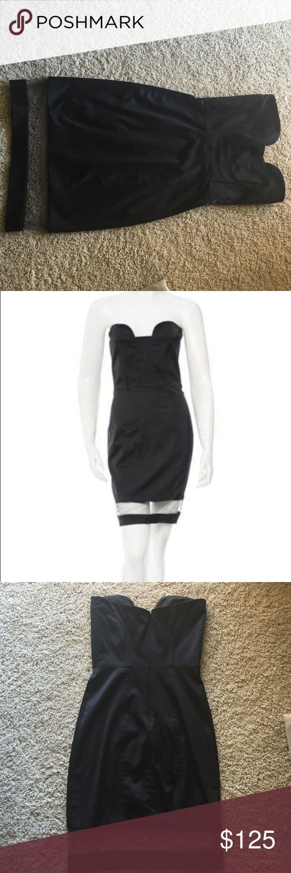 Black strapless Alexis dress Stunning black strapless Alexis dress with sheer panel at the bottom. Purchased last year from Neiman Marcus and worn once and dry cleaned. In perfect condition! Size XS. Alexis Dresses Strapless