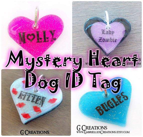 Mystery Heart DogTag 3.8 cm  Cute Surprise by GabriellesCreations #handmade #personalized #dogtag