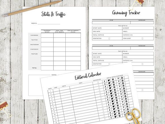 Social Media Planner, Printable Blog Planner, Business Planner