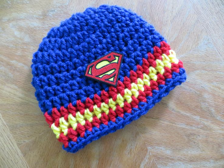 Superman Crochet Photo Prop Hat, Baby boy beanie, Superman Super Hero crochet hat, baby shower gift, photo props by kimcrochetcreations on Etsy