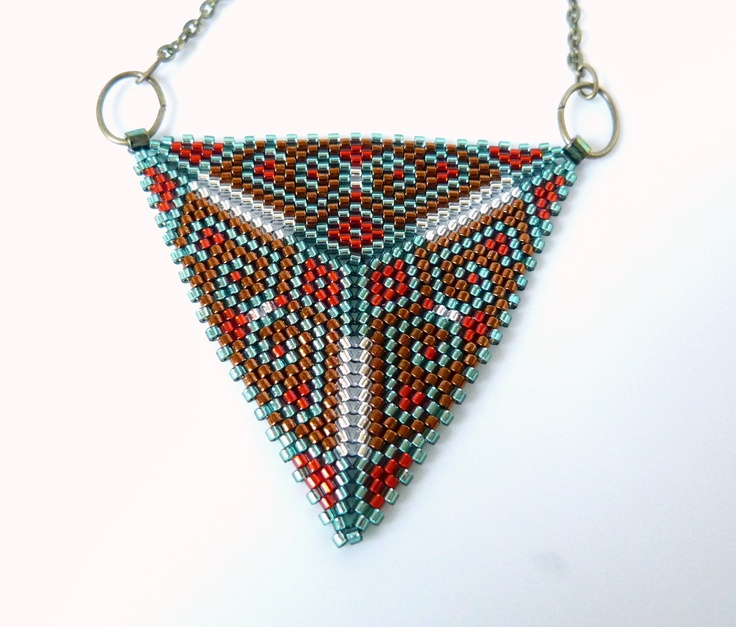Peyote Beaded Triangle Pendant Necklace - Beadwork in Light Green, Scarlet Red, Silver White and Copper Brown Tones. $35.00, via Etsy.