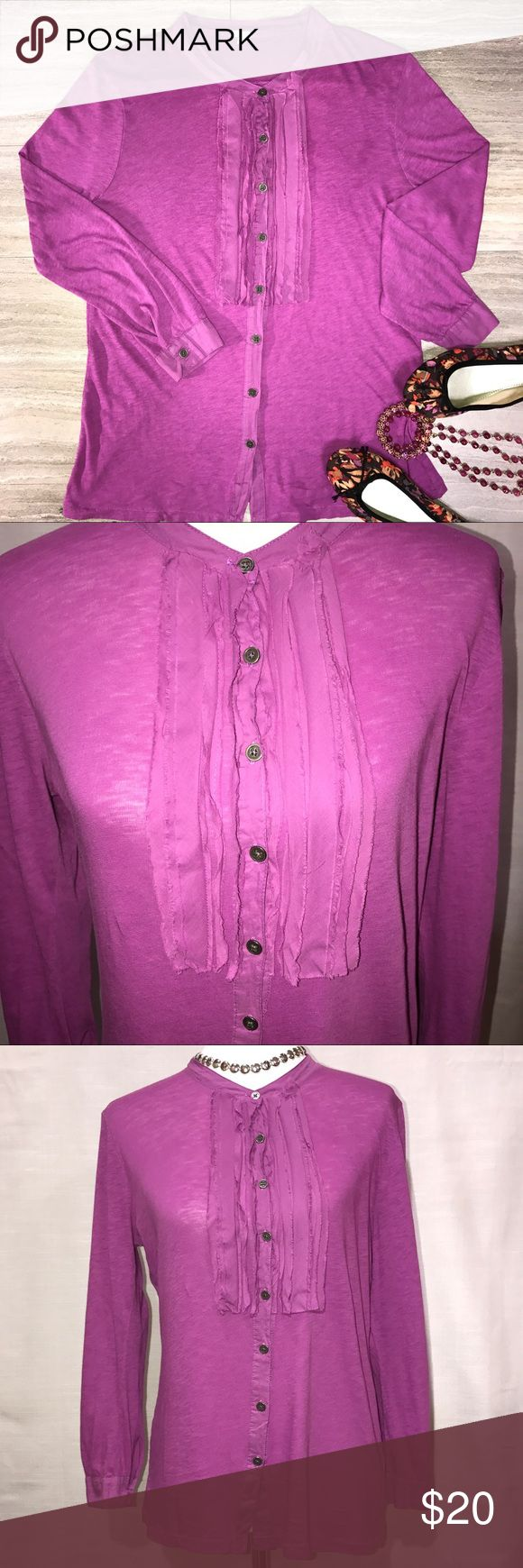 J Crew Ruffled Tuxedo Violet Tee J Crew long sleeve tee. Violet purple, ruffled tuxedo bust, button front and sleeve cuffs. Great condition. J. Crew Tops Tees - Long Sleeve