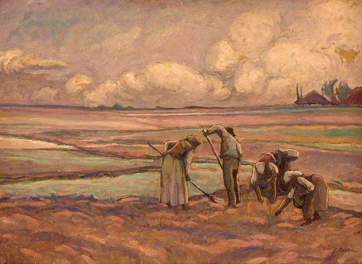 Camil Ressu, Culegătorii de cartofi - ulei pe carton, 46.50 × 61.00 cm, semnat dreapta jos cu negru, C. Ressu