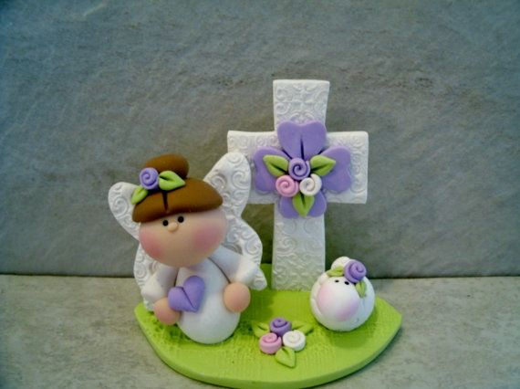 Easter Angel Cross Lamb Figurine by countrycupboardclay on Etsy
