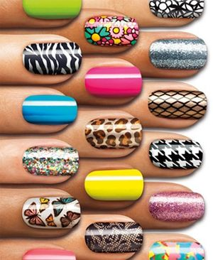 These Sally Hansen nails are great! Easy to apply nail polish strips, with  colors for everyone! Including solids, glitters, and design, plus no dry time. Get stuck with these as they can last up to 10 days! #beauty, #nails
